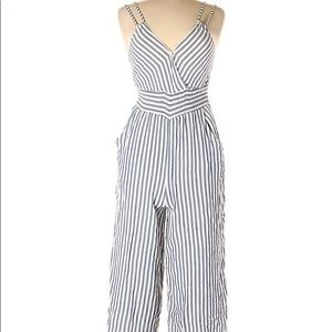 American Eagle White & Blue Cropped Jumpsuit